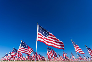 A display of American flags with a sky background